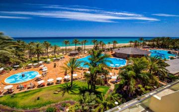 panoramic view of the swimming pools of the hotel sbh costa calma palace